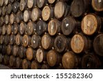 Wine Barrels Stacked In The Old ...