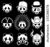 set of panda head - stock vector