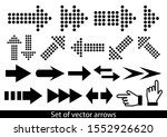 vector set of black arrows on... | Shutterstock .eps vector #1552926620