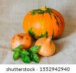 orange pumpkin and two onions...
