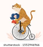 Cute Tiger And Girl With...