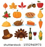 set of thanksgiving cartoon... | Shutterstock .eps vector #1552960973