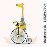 Cute Giraffe And Toucan With...