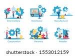 business model flat vector... | Shutterstock .eps vector #1553012159