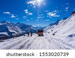 Small photo of Rohtang Pass, Himachal Pradesh, India-October, 2019: The Heavy Snow caused slippery icy road condition on Leh Manali Highway Leading to suspension of vehicular movement at Rohtang Pass.