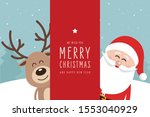 santa and reindeer cute cartoon ... | Shutterstock .eps vector #1553040929