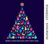 christmas tree decorations     Shutterstock .eps vector #155304416