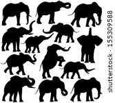 african,african elephant,animal,black,collection,design element,elephant,fauna,graphic,illustration,mammal,nature,outline,set,silhouette