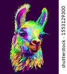alpaca   llama portrait.... | Shutterstock .eps vector #1553129300
