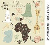 cartoon set of wild animals and ...   Shutterstock .eps vector #155314790