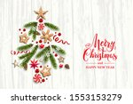 festive composition with pine... | Shutterstock .eps vector #1553153279