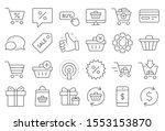 shopping line icons. gift box ... | Shutterstock .eps vector #1553153870