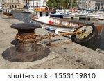 Bumper Tire On A Mooring Pier.