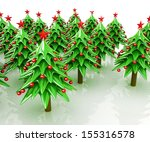 christmas trees on a white... | Shutterstock . vector #155316578
