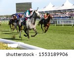 Small photo of DONCASTER RACECOURSE, STH YORKSHIRE, UK : 14 SEPTEMBER 2019 : Frankie Dettori rides Logician home to win the 2019 running of the St Leger in a course record time at Doncaster