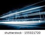 light trails on the modern city ... | Shutterstock . vector #155321720