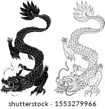 outline chinese dragon...