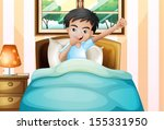 illustration of a boy waking up ... | Shutterstock .eps vector #155331950