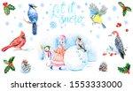 Christmas Card Set. Woodpecker...