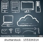 cloud computing icons   chalk... | Shutterstock .eps vector #155334314