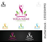 yoga and lotus flower logo with ... | Shutterstock .eps vector #1553354993