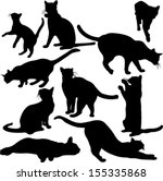 cats silhouette collection  ... | Shutterstock .eps vector #155335868