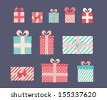vector gift wrapping collection.... | Shutterstock .eps vector #155337620