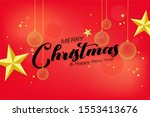 christmas balls and stars style ... | Shutterstock . vector #1553413676