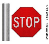 stop sign with metal bar... | Shutterstock . vector #155351378