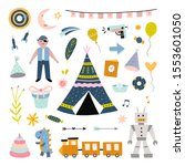 kids toys and objects. cute... | Shutterstock .eps vector #1553601050