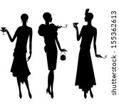 silhouettes of beautiful girl... | Shutterstock .eps vector #155362613