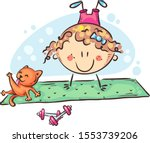 little girl practicing yoga... | Shutterstock .eps vector #1553739206