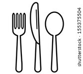 fork  knife and tablespoon black   Shutterstock .eps vector #155375504