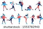 set of ice figure skating...   Shutterstock .eps vector #1553782943
