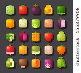 square shaped vegetables icon set - stock vector