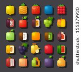 square shaped fruit icon set - stock vector