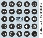 media player control icon set...