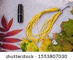 beautiful autumn leaves  woman... | Shutterstock . vector #1553807030