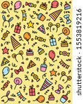 happy birthday colorful doodle... | Shutterstock .eps vector #1553819216