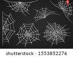cobweb set for halloween design ... | Shutterstock .eps vector #1553852276