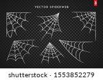 cobweb set for halloween design ... | Shutterstock .eps vector #1553852279