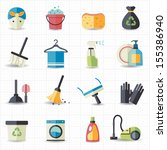 cleaning icons | Shutterstock .eps vector #155386940