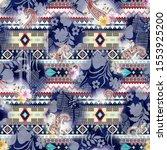 watercolor digital paisley and  ... | Shutterstock . vector #1553925200