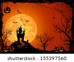 halloween night  black castle... | Shutterstock . vector #155397560