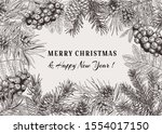 christmas holiday frame with...   Shutterstock .eps vector #1554017150