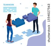 work team couple with puzzle...   Shutterstock .eps vector #1554027563