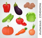 vegetable vector icon set. 3d... | Shutterstock .eps vector #1554044546