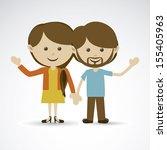 happy couple over gray... | Shutterstock .eps vector #155405963