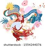 hand drawn dragon tattoo ... | Shutterstock .eps vector #1554244076