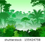 vector tropical rainforest... | Shutterstock .eps vector #155424758